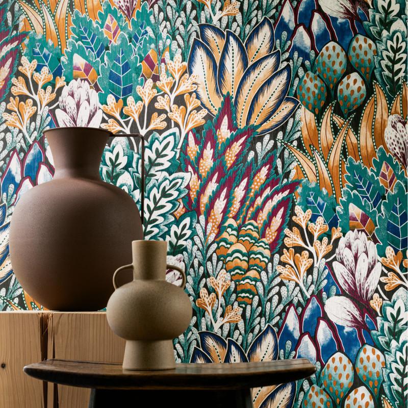 Papier peint Avicennia noir et topaze - KARABANE - Casamance - 75162858