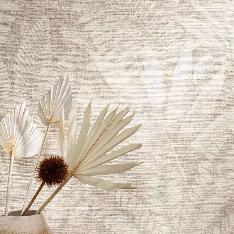 Papier peint Aloes ivoire et grège - KARABANE - Casamance - 75183580