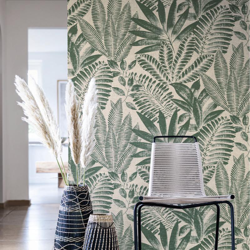Papier peint Aloes vert impérial et grège- KARABANE - Casamance - 75183784