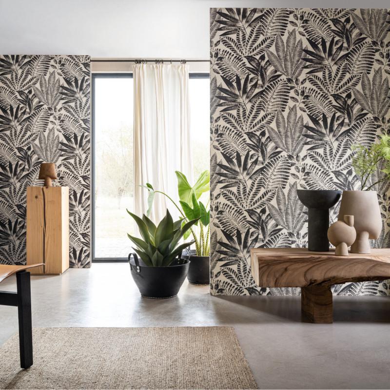Papier peint Aloes noir et grège - KARABANE - Casamance - 75183886