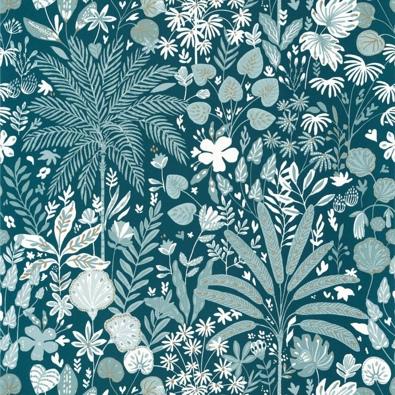 Papier peint Hygge Hope teal blue doré - ONLY BLUE - Caselio - ONB100596120