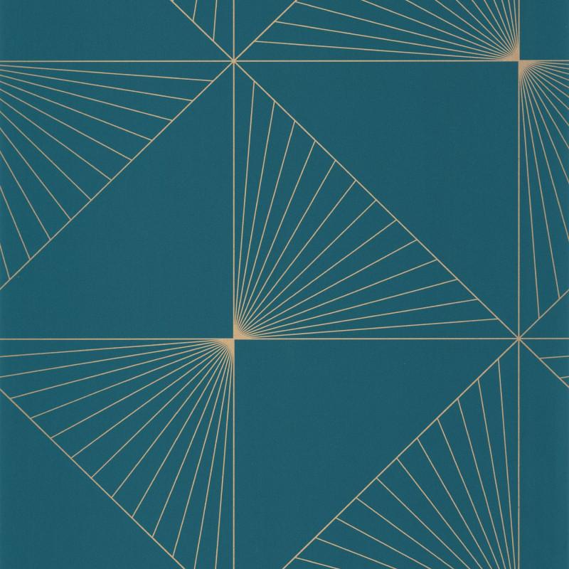 Papier peint Moonlight Sunset teal blue doré - ONLY BLUE - Caselio - ONB101056120