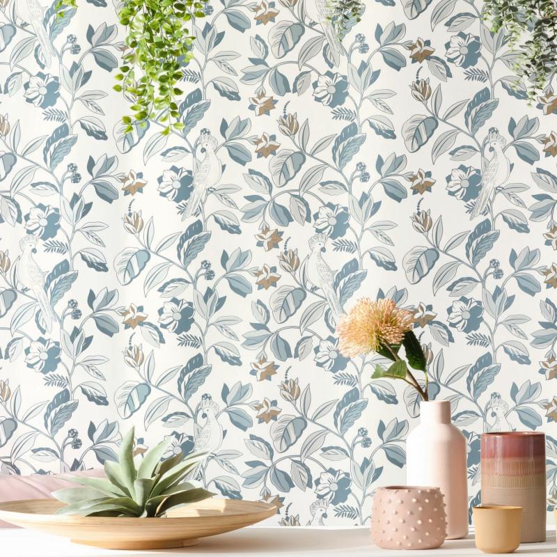 Papier peint Sweet Feathers smoke blue doré - ONLY BLUE - Caselio - ONB102626023