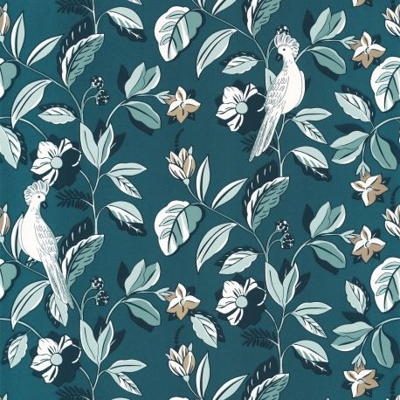 Papier peint Sweet Feathers Teal blue doré - ONLY BLUE - Caselio - ONB102626127