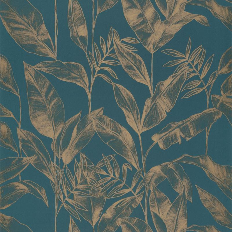 Papier peint Delicate teal blue doré  - ONLY BLUE - Caselio - ONB102636124