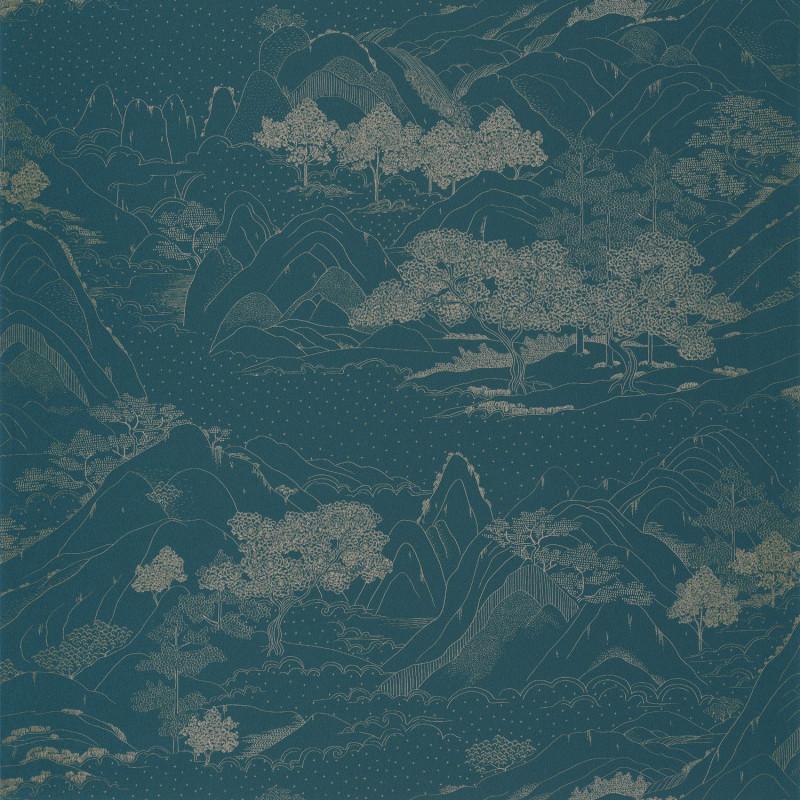 Papier peint Journey teal blue doré - ONLY BLUE - Caselio - ONB102646160