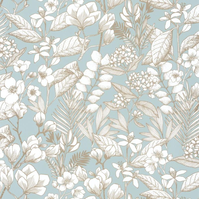 Papier peint Lovely Field smoke blue doré - ONLY BLUE - Caselio - ONB102656026