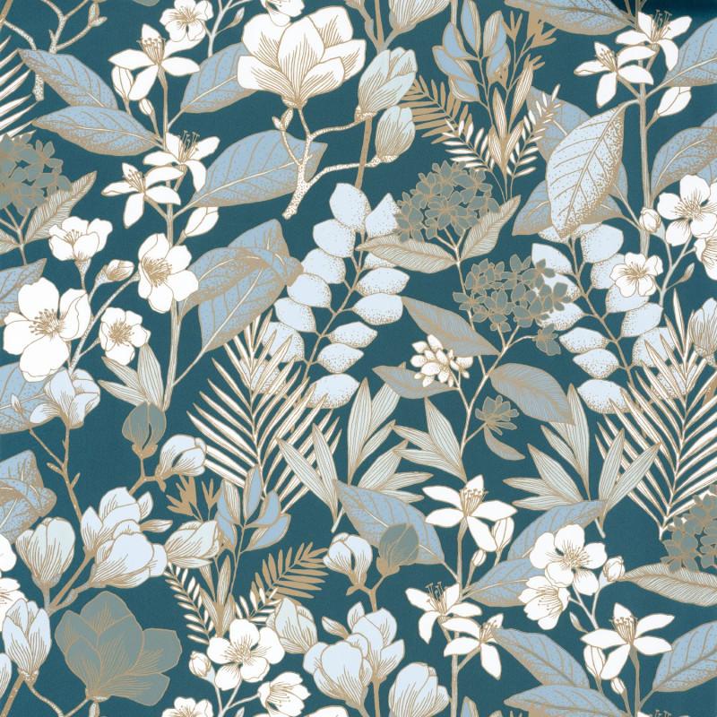 Papier peint Lovely Field teal blue doré - ONLY BLUE - Caselio - ONB102656162