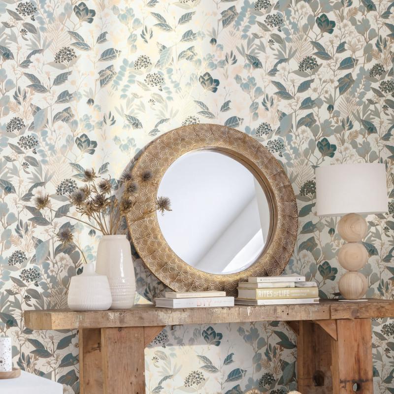 Papier peint Lovely Field teal blue doré - ONLY BLUE - Caselio - ONB102656260