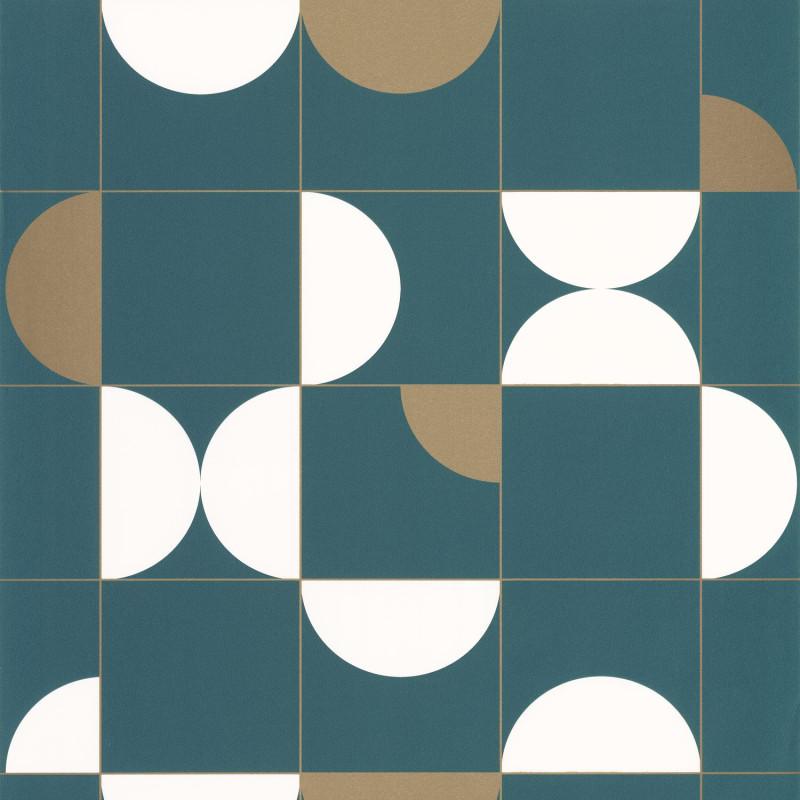 Papier peint Diabolo teal blue doré - ONLY BLUE - Caselio - ONB102666120