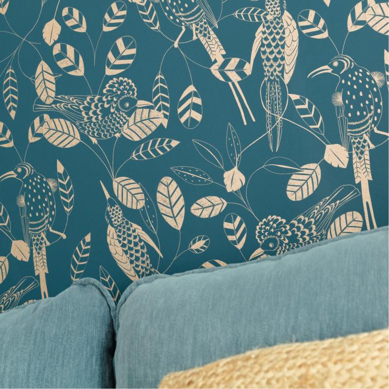Papier peint Elegante teal blue doré - ONLY BLUE - Caselio - ONB102676100