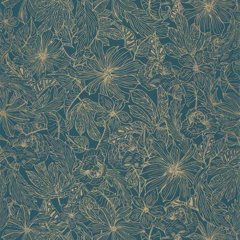 Papier peint Tropical Sun teal blue doré - ONLY BLUE - Caselio - ONB102686123