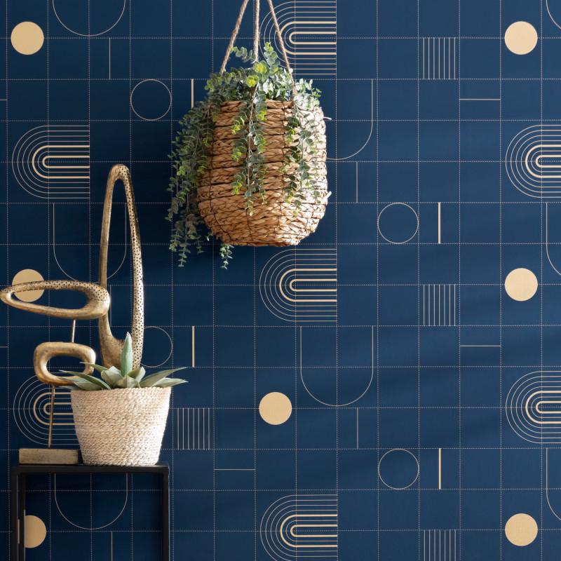 Papier peint Golden Curves smoke blue doré - ONLY BLUE - Caselio - ONB102706028
