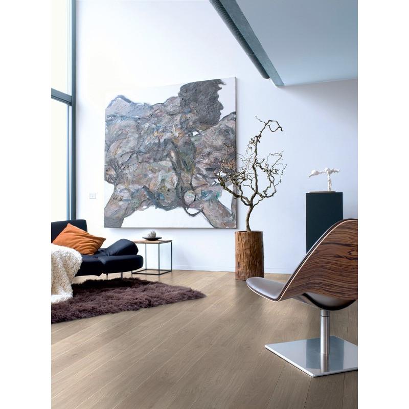 QUICKSTEP - Lames stratifiées clipsables 4 chanfreins : PERSPECTIVE - chêne verni gris clair planches