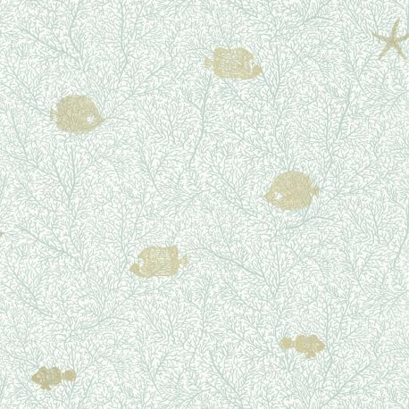 Papier peint Fish And Chips vert d'eau doré - SEA YOU SOON - Caselio - SYO102777267