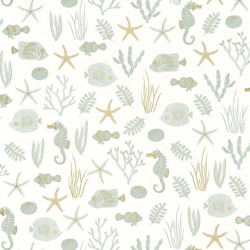 Papier peint Selfish blanc vert d'eau doré - SEA YOU SOON - Caselio - SYO102807070