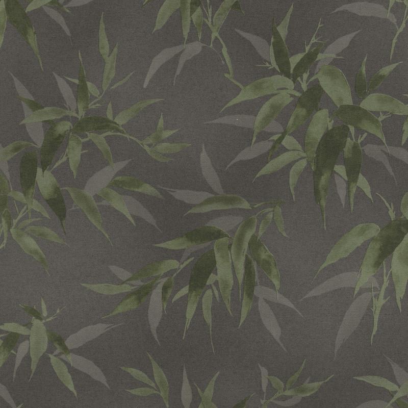 Papier peint Bambous vert fond noir - KIMONO - Rasch - 409772