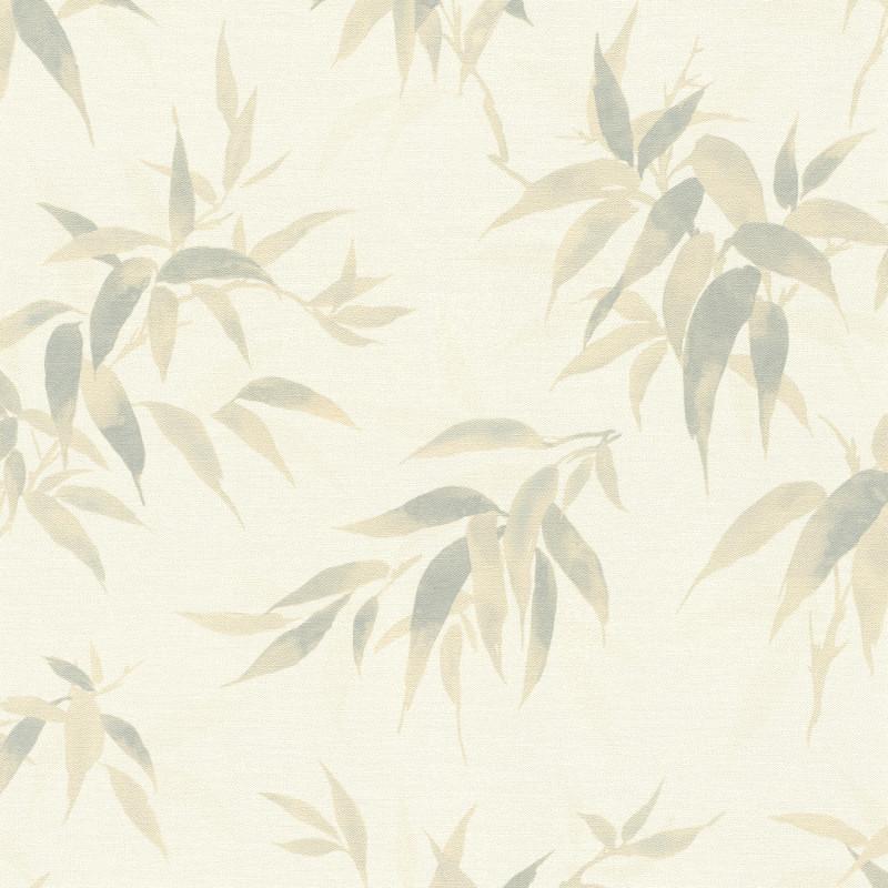 Papier peint Bambous vert jade fond perle - KIMONO - Rasch - 409741