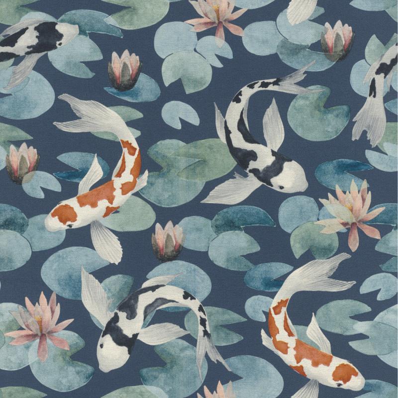 Papier peint Carpes KoÏ oranges noirs fond bleu marine - KIMONO - Rasch - 409444