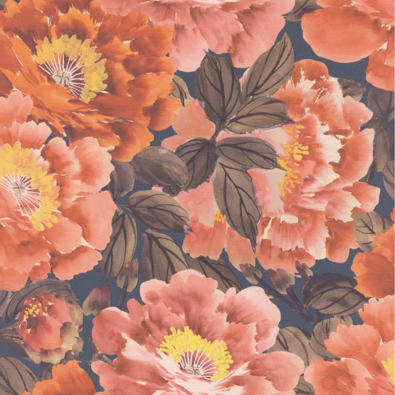 Papier peint Floraison corail jaune marron fond noir - KIMONO - Rasch - 408348