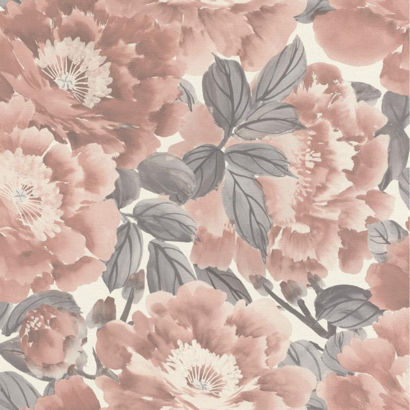 Papier peint Floraison rose poudrée gris fond blanc - KIMONO - Rasch - 408331
