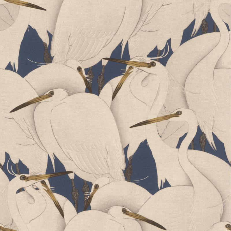 Papier peint Hérons blancs fond bleu marine - KIMONO - Rasch - 409550