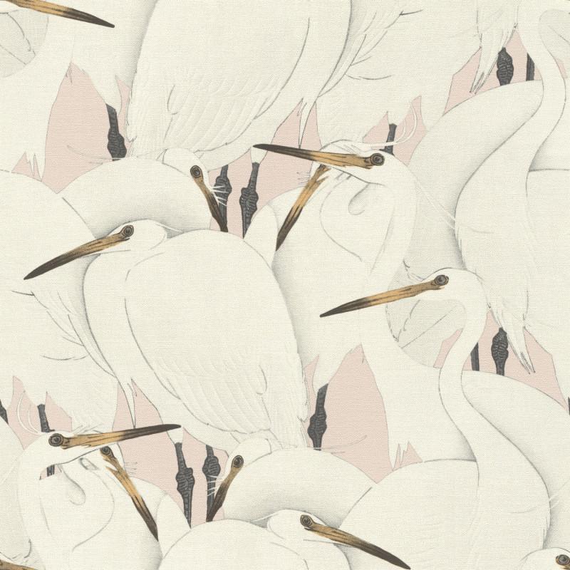Papier peint Hérons blancs fond rose poudrée - KIMONO - Rasch - 409536