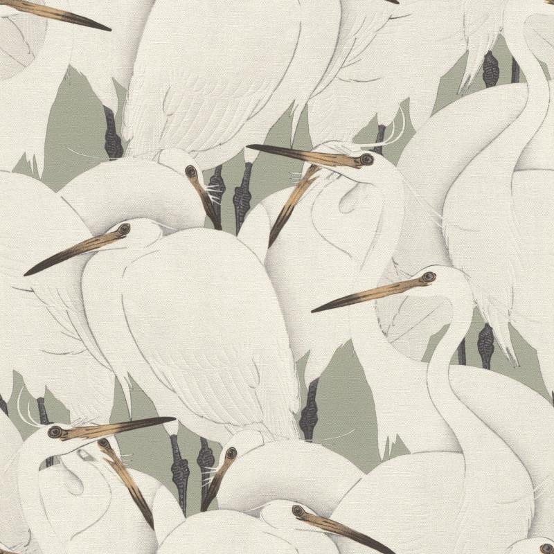 Papier peint Hérons blancs fond vert jade - KIMONO - Rasch - 409543