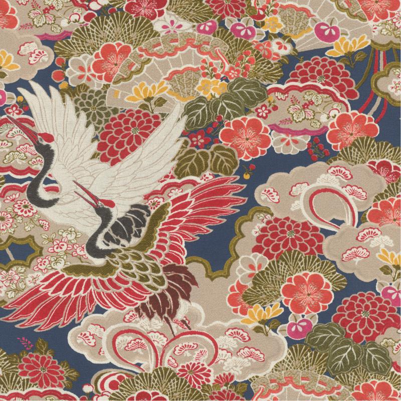 Papier peint Japon fuschia grège bleu - KIMONO - Rasch - 409352