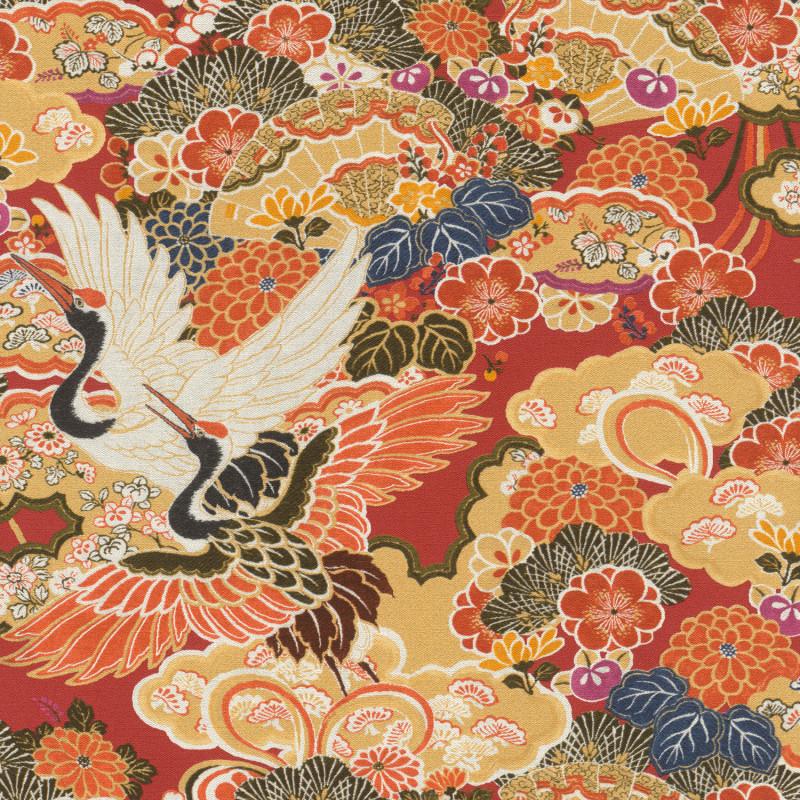 Papier peint Japon jaune orange rouge - KIMONO - Rasch - 409345