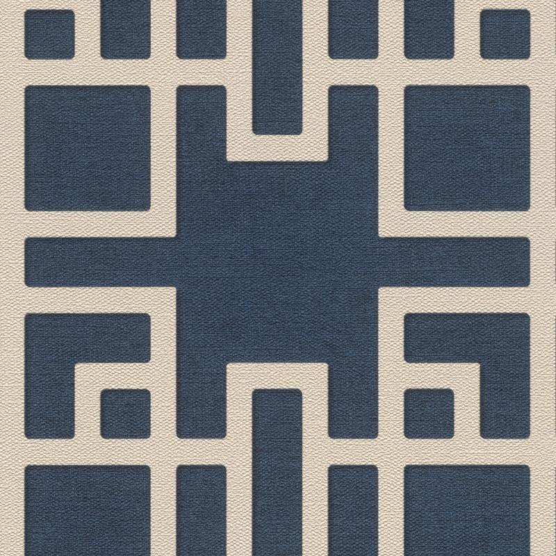 Papier peint Maison De Thé bleu marine - KIMONO - Rasch - 409253