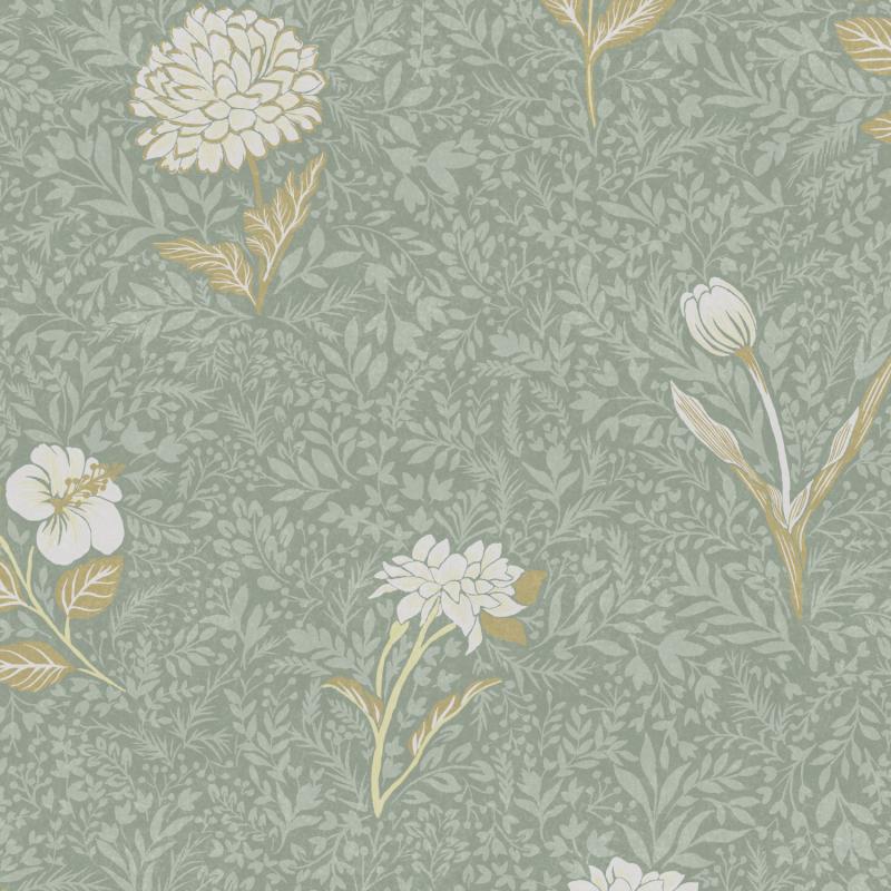 Papier peint Dahlia Teal - OLIVIA - Zoom by Masureel - OLI305