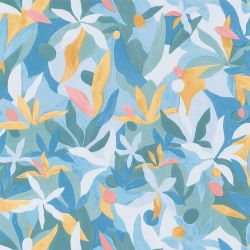 Papier peint Fauve bleu cobalt jaune corail - IMAGINATION - Caselio - IMG102166114
