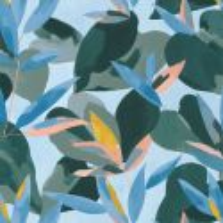 Papier peint Influence bleu cobalt jaune corail - IMAGINATION - Caselio - IMG102156127