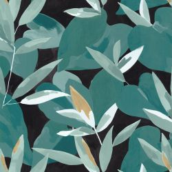 Papier peint Influence vert émeraude doré fond noir - IMAGINATION - Caselio - IMG102157394
