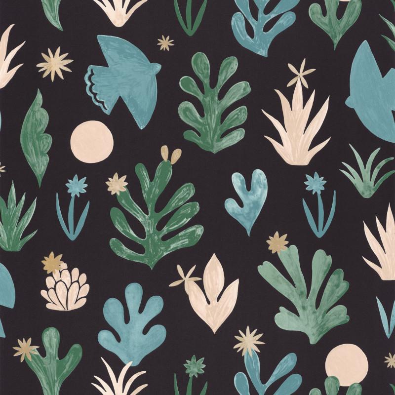 Papier peint Liberté vert émeraude doré fond noir - IMAGINATION - Caselio - IMG102177192