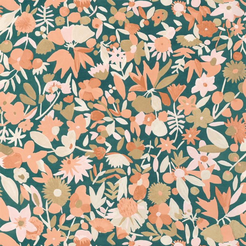 Papier peint Naiveté terracotta rose doré - IMAGINATION - Caselio - IMG102193034