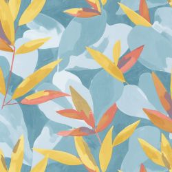 Papier peint Influence bleu jaune orange - IMAGINATION - Caselio - IMG102156017