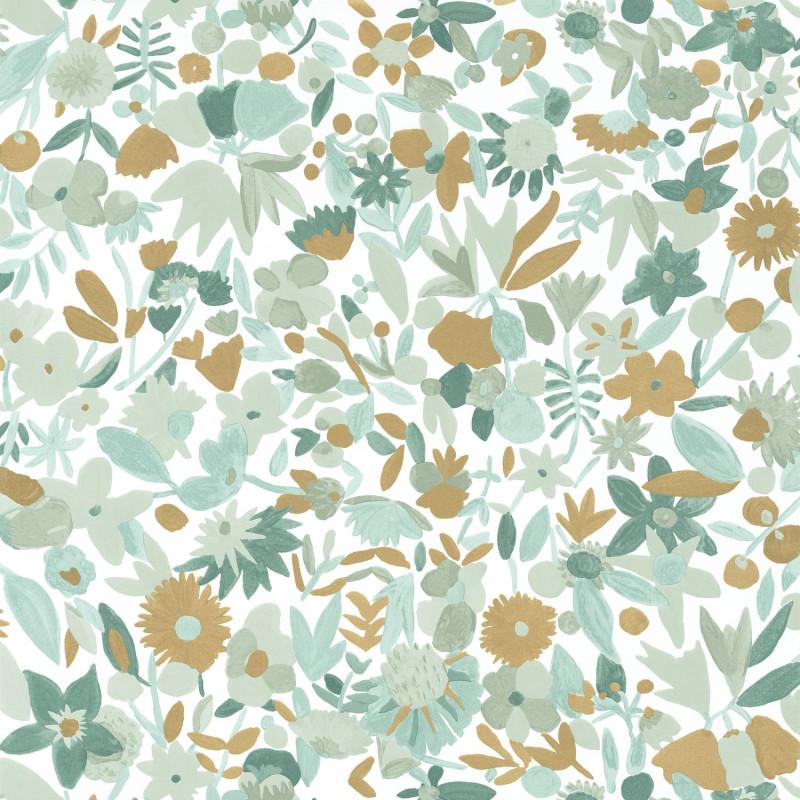 Papier peint Naiveté vert menthe doré - IMAGINATION - Caselio - IMG102197018