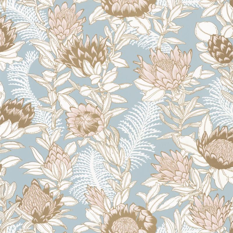Papier peint Fragrance bleu fumée irisé doré - DREAM GARDEN - Caselio - DGN102246000