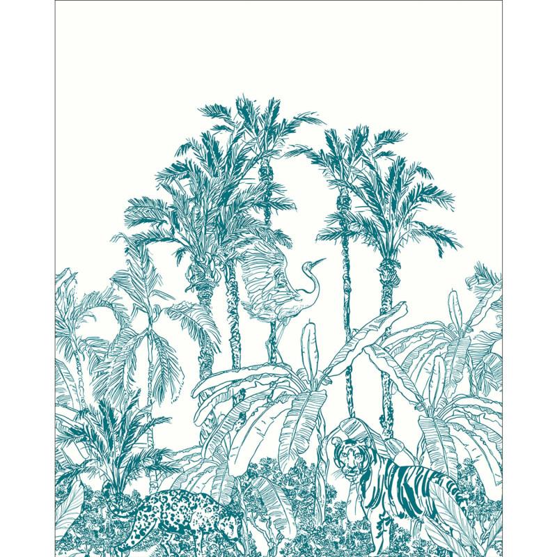 Panoramique La Jungle Enchantée bleu - BEAUTY FULL IMAGE 2 - Caselio - BFM102436060