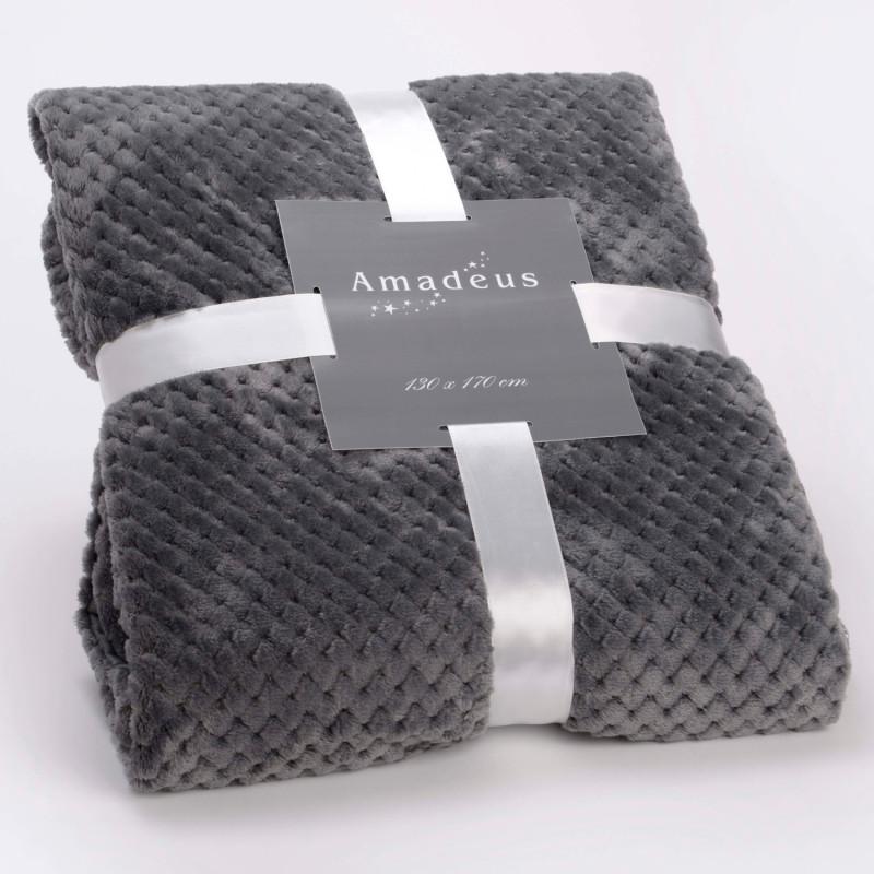 Plaid relief damier uni gris anthracite - 130x170cm - Amadeus