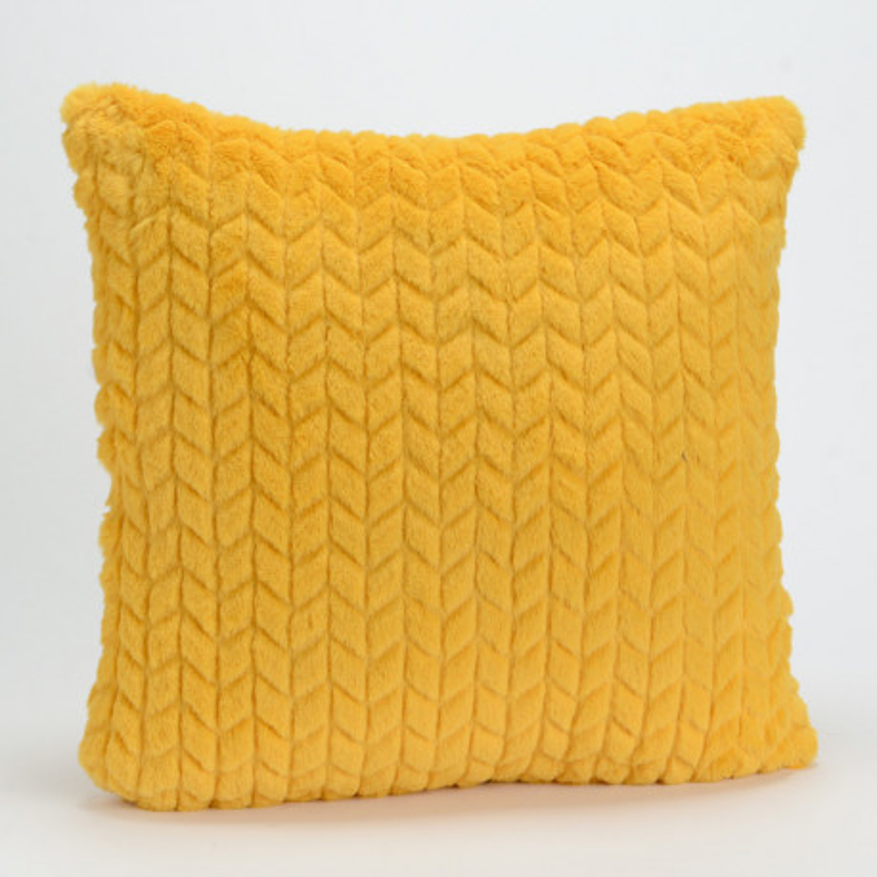 Coussin chevron uni jaune moutarde - 40x40cm - Korb Amadeus