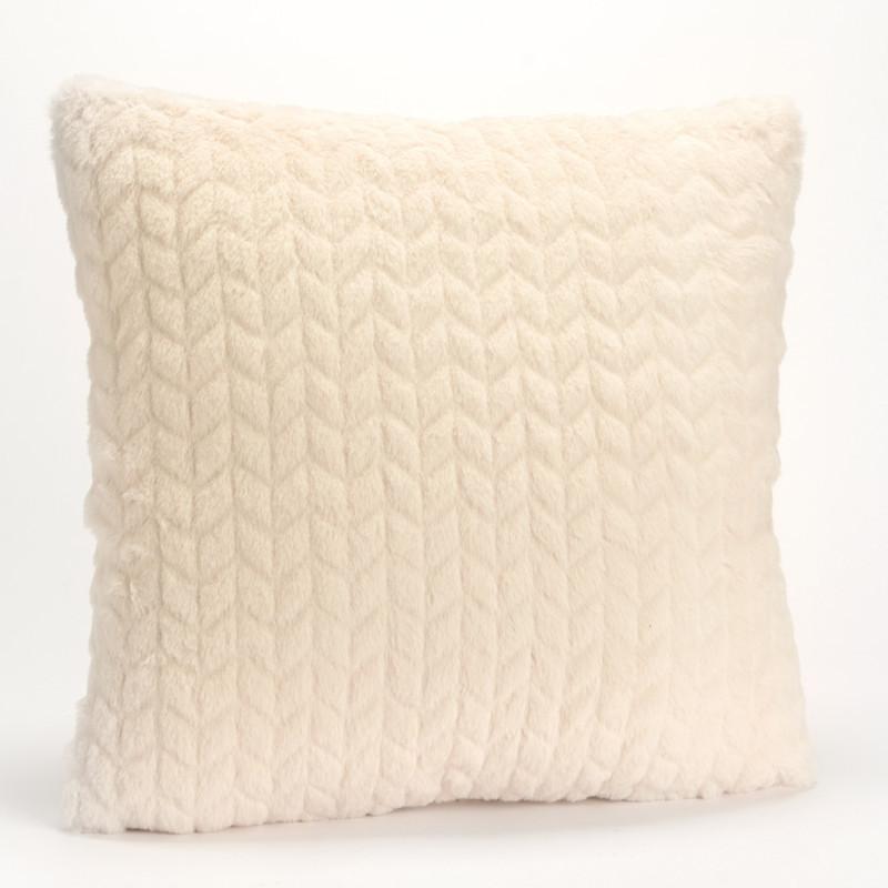 Coussin chevron uni blanc crème - 40x40cm - Amadeus