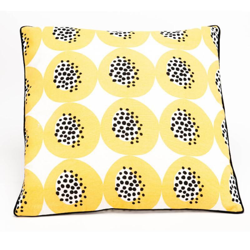 Coussin Limonade jaune et noir - 50x50cm - Amadeus