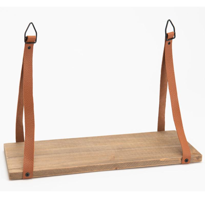 Étagère Antique bois et lanière effet cuir camel - Amadeus - 153272
