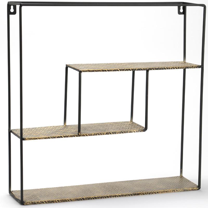 Petite étagère carrée en métal noir et doré 45x45cm - Amadeus - 147775
