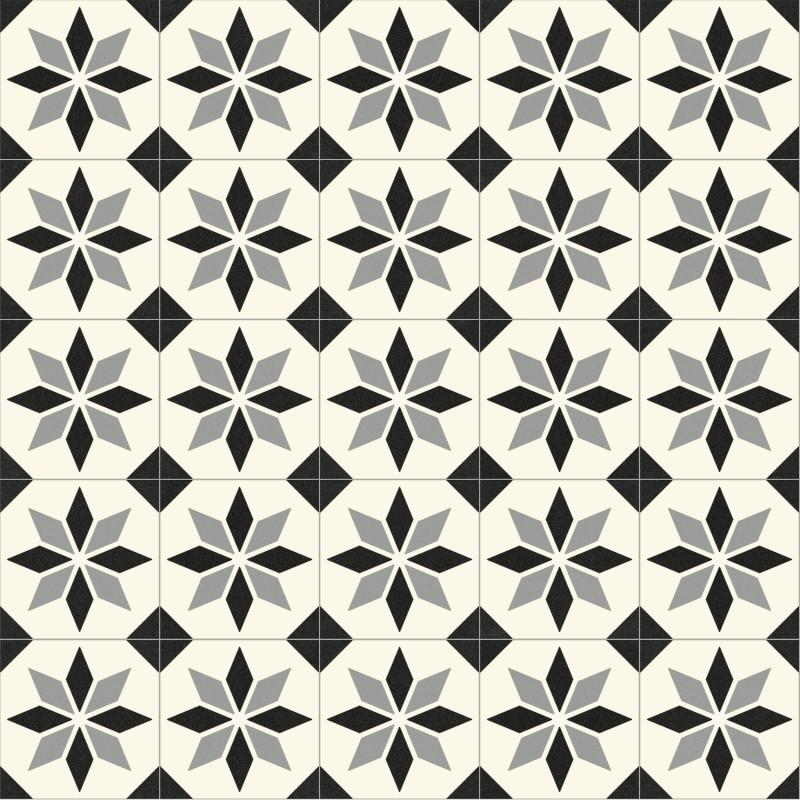 Sol PVC - Scottsdale 099M carreaux de ciment étoile noir et blanc - Optima Retro-Tex BEAUFLOR - rouleau 3M