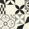 Sol PVC - Feliz 595 carreaux de ciment noir blanc gris - Bingo IVC - rouleau 2M