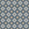 Sol PVC - Scottsdale 712M carreaux de ciment étoile bleu/beige - Optima Retro-Tex BEAUFLOR - rouleau 2M